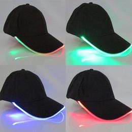 club baseball 2019 - LongKeeper 6 Colors LED Light Flash Baseball Caps Fashion LED Lighted Glow Club Party Sports Black Fabric Travel Hats ch