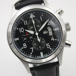 Pilot watch dial online shopping - High Quality Luxury Men s Watch IW Pilot Series Black Multi Function Dial with Calendar MM Black Leather Strap quartz movement