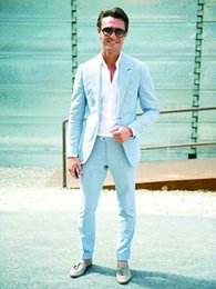 $enCountryForm.capitalKeyWord Canada - Sky Blue Spring Summer Men Suits Slim Fit Casual Custom Wedding Party Prom Tailor Made Tuxedo 2 Pieces Terno Blazer Masculino (Jacket+Pants)