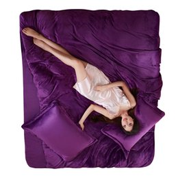 Discount velvet bedding sets - 4pcs Winter Thick Warm Super Soft Flannel Solid Home Bedding Set Women Men Purple Silver Red Pink velvet Duvet Cover Bed