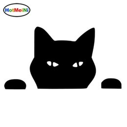 Silver Car Decoration UK - Wholesale Car Styling Pet CAT PEEPING Cat Fun Animal Window Decoration Decal Creative Motorcycle Car Stickers Black Silver