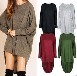 Woman blouses bat sleeves online shopping - Women Bat Baggy Shirts Long  Sleeve Irregular Tops Fashion 8f2bc1a024f3