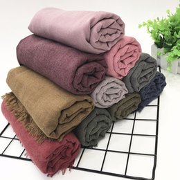 Solid Cotton Shawl Australia - 2018 spring and summer new art scarf women cotton linen solid color shawl new wholesale linen bicolor ring Pashmina Scarves