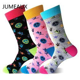 61acea3c1c46 JUMEAUX Combed Cotton Men's Sock Colorful Crew Happy Socks Star Rose Printed  Korean Style Funny Pattern Sock Meias EU 39-46
