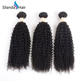 kinky curly weaving hair Canada - Silanda Hair High Quality Natural Color Kinky Curly Brazilian Remy Human Hair Weave Bundles Hair Weft Free Shipping