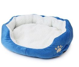 Large Housing Australia - Round Shape Dimple Fleece Nesting Dog Cave Bed Pet Cats Bed Small Dogs Houses Cat Supplies Blue