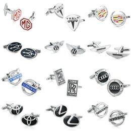 Discount cars ties - WN hot sale! car logo cufflinks high quality copper, men's French shirt cuff links wholesale and retail