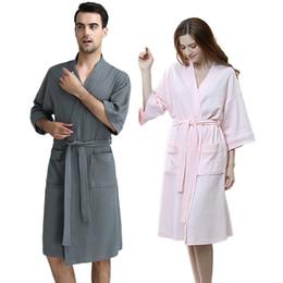 ae19f78b96 100% Cotton Plus Size Waffle Kimono Bath Robe Men Towel Suck Sweat Knee  Length Bathrobe Male Summer Sexy Dressing Gown for Women