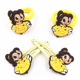 princess ponytail 2019 - 1lot=4pcs Princess Girls Elastic Rubber Band Hair Gum Cartoon Ponytail Holders PVC Hair Accessories clips kids pins disc
