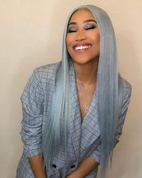 Human Hair Density Australia - Gray Full Lace Wig 180% Density Grey Silky Straight Preplucked Hairline 100% Brazilian Human Remy Hair