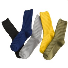 warmest thermal socks UK - Solid Colors Mens Knitted Socks Winter Thick Sock Vintage Artistic Casual Warm Socks Knit Thermal Sock