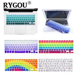 Macbook Retina 13 Inches Australia - RYGOU US English layout Silicone Flower Decal Rainbow Keyboard Cover Keypad Skin Protector For Macbook Air Pro Retina 13 15 17