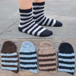 a03ae8fa01e0 1 Pair Striped Soft Men Crew Fluffy Socks Coral Velvet Winter Warm Thermal  Home Indoor Floor Men s Terry Towel Fuzzy Socks