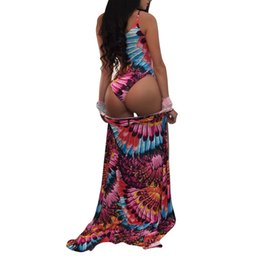 0161aa00bf Sexy Women Swimsuits Cover Up Colorful Print Lace-Up Wireless Padding  Bathing Suit Set Beach Wear Swimwear Boho Overall Bodysuit