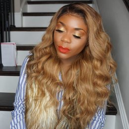 2018 black honey blonde ombre Honey Blonde Lace Front Wig Glueless Full Lace Wigs Human Hair Ombre Wig Black Roots 1B 27 Body Wave Brazilian Virgin Ha