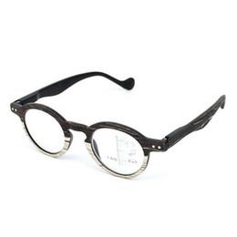 879fb02d5f Gafas de lectura progresivas redondas retro Gafas multifocales Gafas de  multifunción cercanas y lejanas multifuncionales + 1.0 ~ + 3.0 Grano de madera  negro