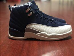 Mesh Fiber Australia - Top Quality 2018 12 International Flight Tokyo Japan Basketball Shoes For Men College Navy 130690-445 Real Carbon Fiber Sneakers Size 7-13