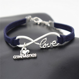 jewelry gymnastics Australia - 2018 Fashion Navy Leather Rope Bracelets & Bangles Women Men Ladies New 8 Infinity I Love Gymnastics Simple Retro Auspicious Digital Jewelry