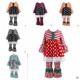 Wholesale Christmas Baby Girl Clothes Autumn Child Polka Dot Dresses Tops Striped Ruffled Pants Sets Fall Kids Long Sleeved Designer Clothing YL581