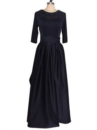 China New Fashion 2018 Navy Blue Prom Dress Three Quarter Sleeves Charming Floor Length Beaded Satin Evening Night Gowns Real Photos suppliers