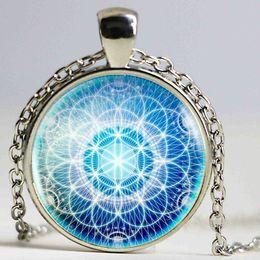 $enCountryForm.capitalKeyWord NZ - Hot sale Tibetan Om Mandala Necklace Gray Om jewelry Vintage Buddhism Dome Pendant Antique Bronze Jewelry Women