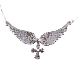 Shop antique angel wing pendant uk antique angel wing pendant free new fashion statement choker crystal antique necklace angel wings cross pendants necklaces for women jewelry gifts aloadofball Images