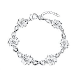Men Silver Chain Set NZ - New arrival !Chrysanthemum hand chain sterling silver plated bracelet SPB475;high quatity fashion men and women 925 silver Charm Bracelets