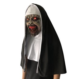 Scary Light Australia - LED The Nun Mask Horror Headgear With Scary Voice Led light Cosplay Valak Latex Masks With Headscarf Helmet Halloween Party Props 2018 HOT