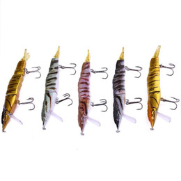 Hard Bait Shrimp Australia - 1PC 16.7g 110mm 3 Segment DIY Hard Shrimp Fishing Lure With Squid Hook Artificial Bait with 4 Tails Fishing Tackle Jigs Lures