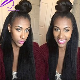 black girl lace front wigs 2019 - Black Wig New Yaki Straight Lace Front Wigs for Women Girls Long Synthetic Hair Natural Black Heat Resistant Swiss Lace