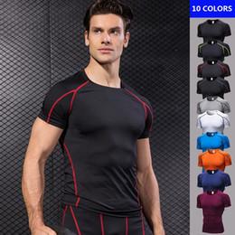 compression short soccer 2019 - Quick Dry Compression Tees Men's Short Sleeve T-Shirts Running Shirt Tennis Soccer Jersey Gym Sportswear Sport Shir