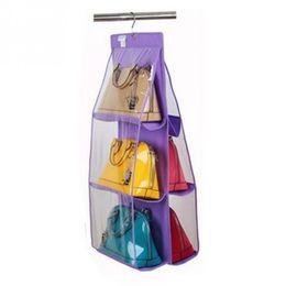 China Multifunction Storage Bag Wardrobe Folding Hanging Type Handbag Storage 3 Floor 6 Pockets Bag Organizer supplier beds wardrobes suppliers