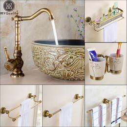 $enCountryForm.capitalKeyWord Australia - Antique Brass Basin Faucet Decorate Hot Cold Water Mixer Tap Wall Mounted Bathroom Towel Bar Storage Holder Mixer Faucet