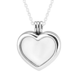 $enCountryForm.capitalKeyWord Australia - 100% 925 Sterling-Silver-Jewelry Silver Necklaces for Women DIY Making with Petite Charms Floating Heart Locket Necklaces Y1892806