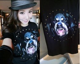 High Neck T Shirts For Women Canada - New Fashion Rottweiler dog print High quality O-neck Black tee t shirts for men women cotton free shipping