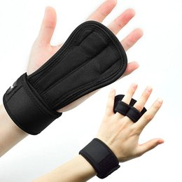 training wrist wrap NZ - 1Pcs Weightlifting Gloves with Wrist Wraps Hand Grips Palm Protection Weightlifting Training BB55