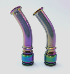 cheap vape tanks Canada - long curved rainbow glass drip tip 510 and 810 thread for tfv8 tfv12 tank 2018 new hot trending cheap vape mouthpiece