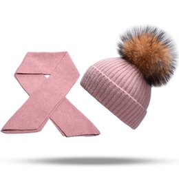0ee8f181ea8 Women s Hat And Scarf Set Kids Winter Beanie Raccoon Fur Pompom Hat Fashion  2018 New Cashmere Scarves Warm Knitted Female Vogue