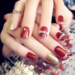 Discount gold finger nail art - ELECOOL 24pcs False Nails Gold Red Acrylic Faux Ongles Patch Nail Chip Nail Art Accessories Easy To Paste Naklejki Na Pa