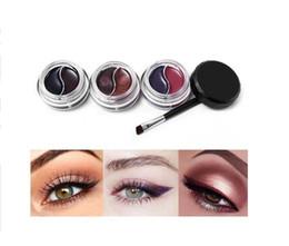Gel Eyes Liner Australia - 2 Colors Gel Eyeliner Makeup Palette Shimmer Matte Waterproof Lasting Not Blooming Eye Liner Gel Cream With Brush