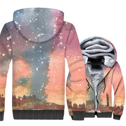 jacket space galaxy 2019 - M-5XL Space Galaxy 3D Hoodies 2018 Winter Star Jackets Men Warm Fleece Sweatshirt Loose Fit Zipper Coat Harajuku Brand H