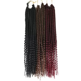 crochet hairstyles UK - Crochet Braid Hair Faux locs Curly Crochet Hair 24 Roots Synthetic Wavy Faux Locks African Braiding HairStyle