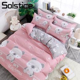 Pink Green Girls Bedding Canada - Solstice Home Textile Little Bear Kid Child Girls Bedding Set Gray Pink Duvet Quilt Cover Pillowcase Flat Sheet Bed Linens Queen