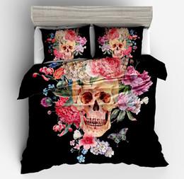 king size skull bedding 2019 - New cool 3D Skull White black colorful Duvet Cover set Pillowcase for twin full King queen Size Europe Style Skull Beddi