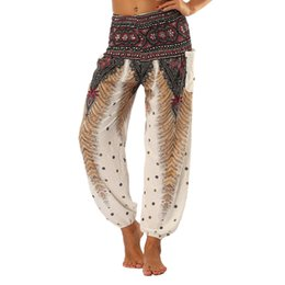 dancing sports pants Canada - ISTider Women Comfy Yoga Leggings Women Pants Trousers Summer Loose Sport Pants Dancing Printed Feather High Waist