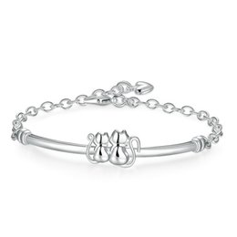 $enCountryForm.capitalKeyWord Australia - Double cat Bracelet vsterling silver plated bracelet ; Top sale fashion men and women 925 silver bracelet SPB389