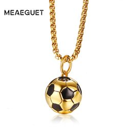 China Meaeguet Soccer Necklaces Men Gold-color Stainless Steel Fitness Football Sport Pendant Jewelry Fathers Day Gifts For Dad cheap gold football pendants suppliers