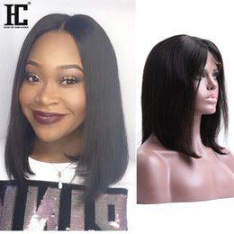 BoB wig synthetic online shopping - Straight Short Bob Wigs With Baby Hair Natural Color Brazilian Remy Hair Lace Front Human Hair Wigs Bob For Black Women HC