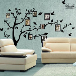 Family Tree Decal Living Room NZ - Large Size Black Family Photo Frames Tree Wall Stickers DIY Home Decoration Wall Decals Modern Art Murals Wallpaper for Living Room