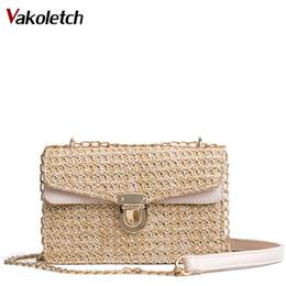 fd7ecf4b69869 2018 Bohemian Style Stroh Taschen für Frauen Kleine Strand Handtaschen  Sommer Vintage Rattan Tasche Handmade Kintted Umhängetasche KL457